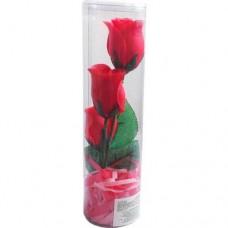 Мыло туалетное цветочное — Роза, в пластиковой тубе, красная / KUMO / 1 шт.