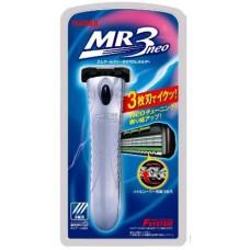 """Мужской бритвенный станок с тройным лезвием, хромированная ручка Feather F-System """"MR3 Neo"""""""